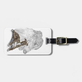 Brindle Greyhound Dog Art Luggage Tag