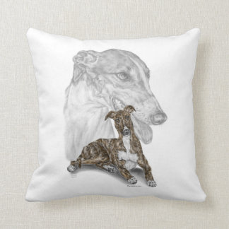 Brindle Greyhound Dog Art Pillow