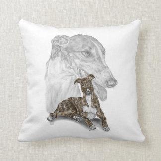 Brindle Greyhound Dog Art Throw Pillows