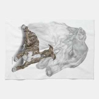 Brindle Greyhound Dog Art Towel