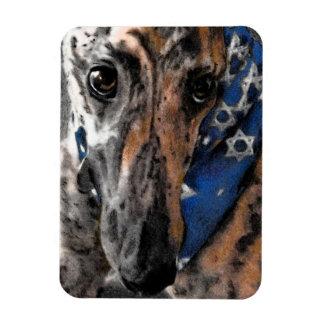 Brindle Greyhound in her Holiday Bandana Magnet