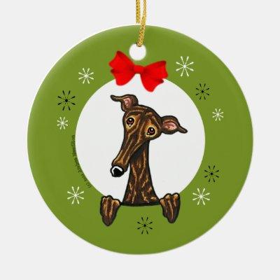 Christmas Greyhound / Whippet / Italian Greyhound Ceramic Ornament ...