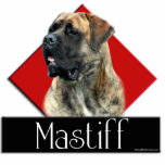 "Brindle Mastiff Diamond sculpture<br><div class=""desc"">A gorgeous brindle Mastiff with a geometric background of a red diamond and a black rectangle.  Inside is the breed name.</div>"