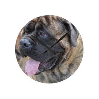 Brindle Mastiff Round Clock
