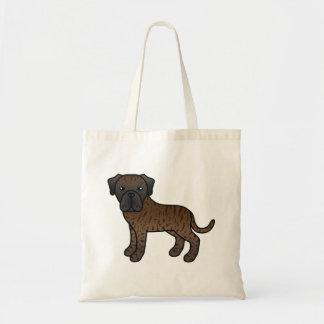 Brindle Old English Mastiff Cartoon Dog Tote Bag