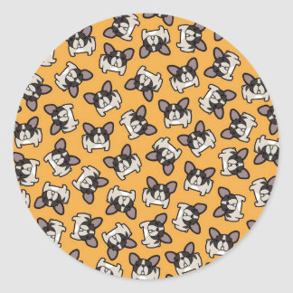 Brindle Pied Frenchie Classic Round Sticker