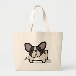 Brindle Pied Frenchie Large Tote Bag