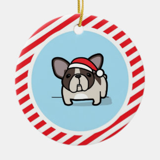 Brindle Pied Frenchie on Candy Cane Stripes Double-Sided Ceramic Round Christmas Ornament