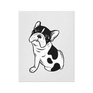 Brindle Pied Frenchie Puppy Canvas Print