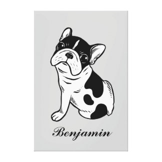 Brindle Pied Frenchie Puppy (Custom Pet Name) Canvas Print