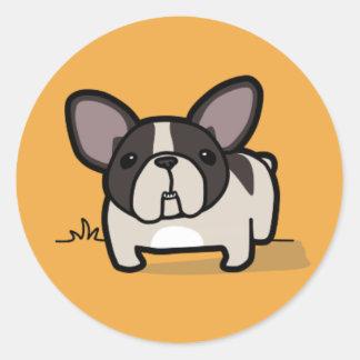 Brindle Pied Frenchie Round Sticker