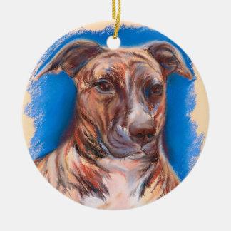 Brindle Pit Bull Dog Ceramic Ornament