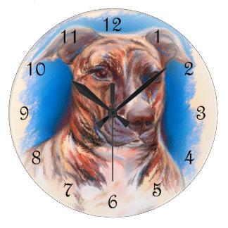 Brindle Pit Bull Dog Large Clock