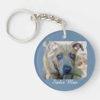 Brindle Pit Bull Puppy by Shirley Taylor Keychain