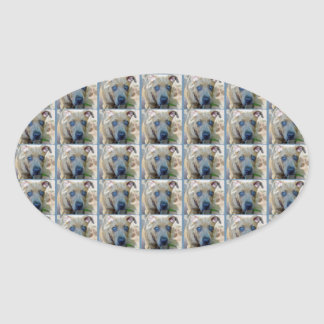 Brindle Pit Bull Puppy by Shirley Taylor Oval Sticker