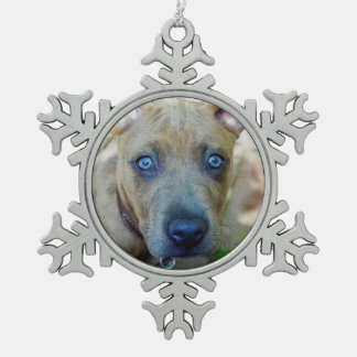 Brindle Pit Bull Puppy by Shirley Taylor Snowflake Pewter Christmas Ornament
