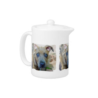 Brindle Pit Bull Puppy by Shirley Taylor Teapot