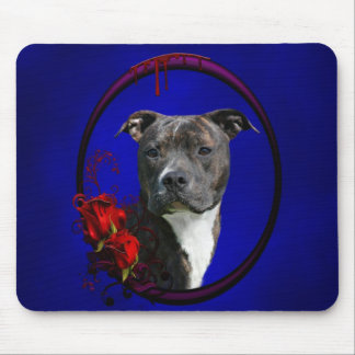 Brindle pitbull with roses mouse pad