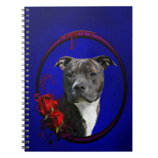 Brindle pitbull with roses notebook