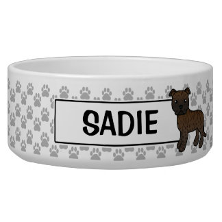 Brindle Staffordshire Bull Terrier And Name Bowl
