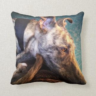 Brindled Lurcher Greyhound Throw Pillow