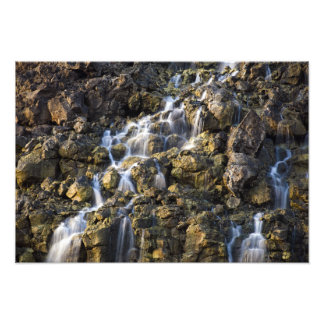 Brine falls from volcanic rock drop off photo print