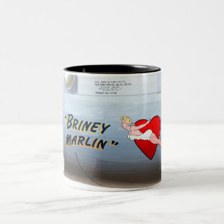 Briney Marlin B-24 Nose Art (Vintage Fuselage) Two-Tone Coffee Mug
