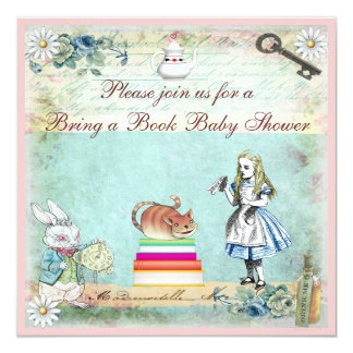 Bring a Book Alice & Cheshire Cat Baby Shower Card