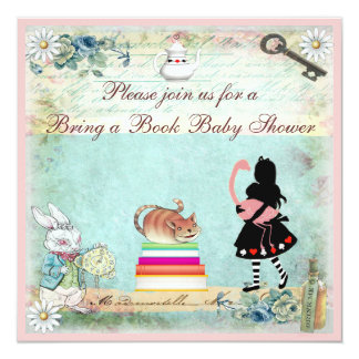 Bring a Book Alice & Flamingo Baby Shower Card