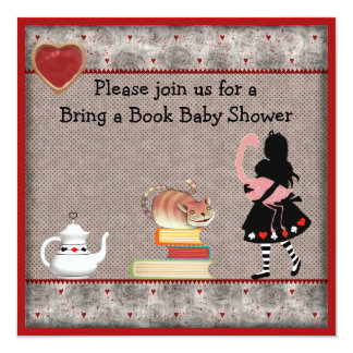 Bring a Book Alice, Flamingo & Cheshire Cat Shower Card