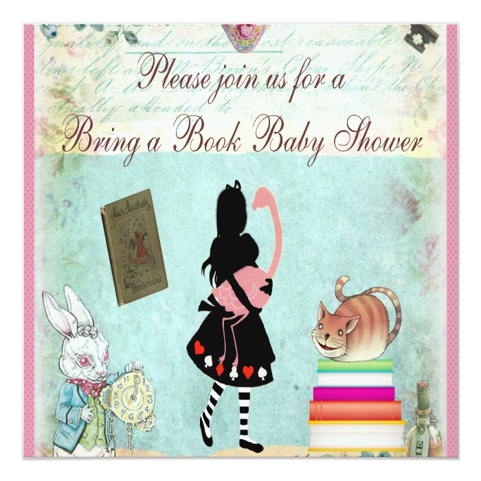 bring a book alice & flamingo pink baby shower card | zazzle, Baby shower invitations