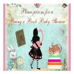 Bring a Book Alice & Flamingo Pink Baby Shower Announcements