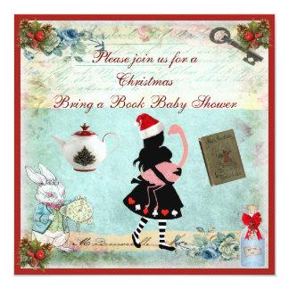 "Bring a Book Alice & Flamingo Xmas Baby Shower 5.25"" Square Invitation Card"
