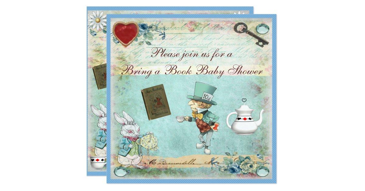 bring a book alice in wonderland baby shower card zazzle