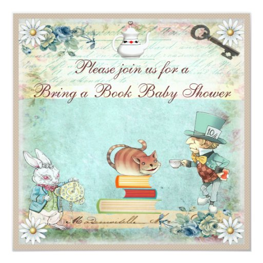 Bring a Book Alice in Wonderland Baby Shower 5.25x5.25 Square Paper Invitation Card