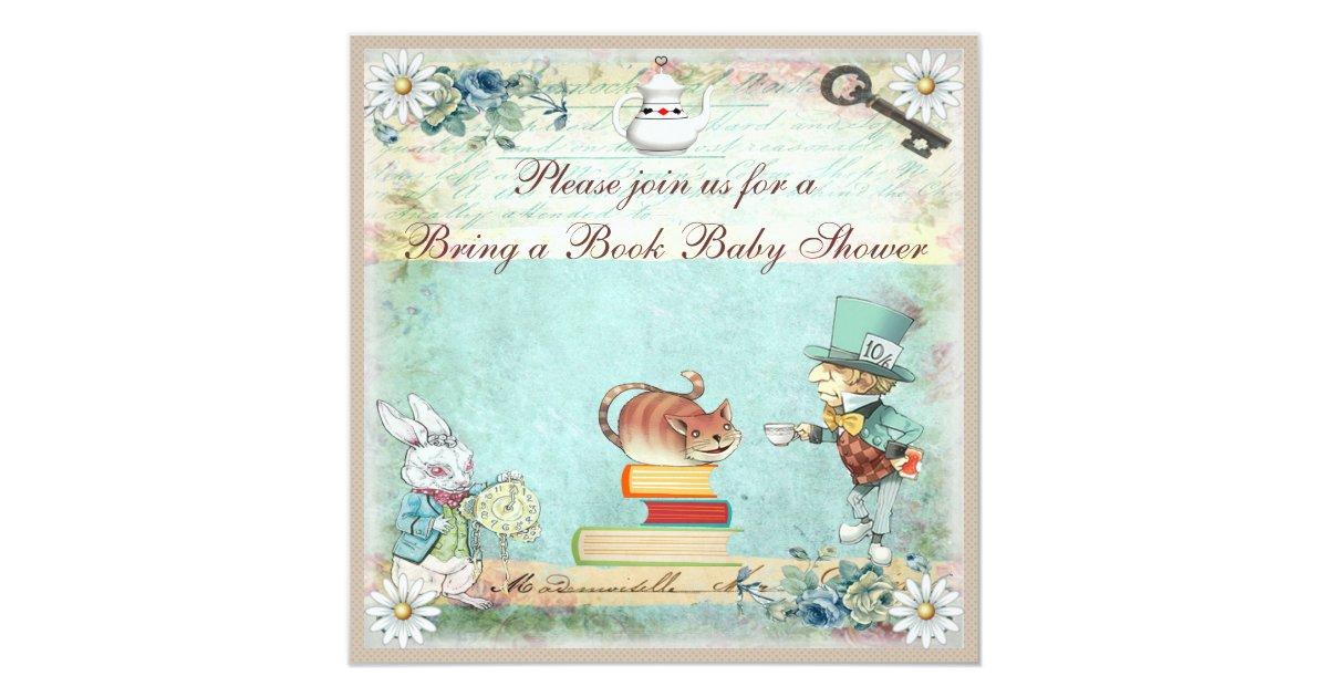 Bring a Book Alice in Wonderland Baby Shower Invitation | Zazzle.com