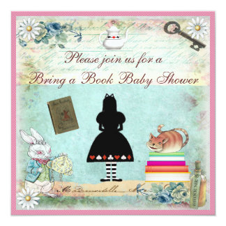 Bring a Book Alice in Wonderland Pink Baby Shower Invitation