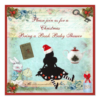 """Bring a Book Alice in Wonderland Xmas Baby Shower 5.25"""" Square Invitation Card"""
