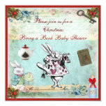 Bring a Book Alice in Wonderland Xmas Baby Shower 5.25x5.25 Square Paper Invitation Card