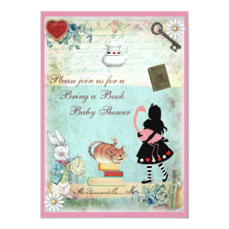Bring a Book Alice & Pink Flamingo Baby Shower 5x7 Paper Invitation Card
