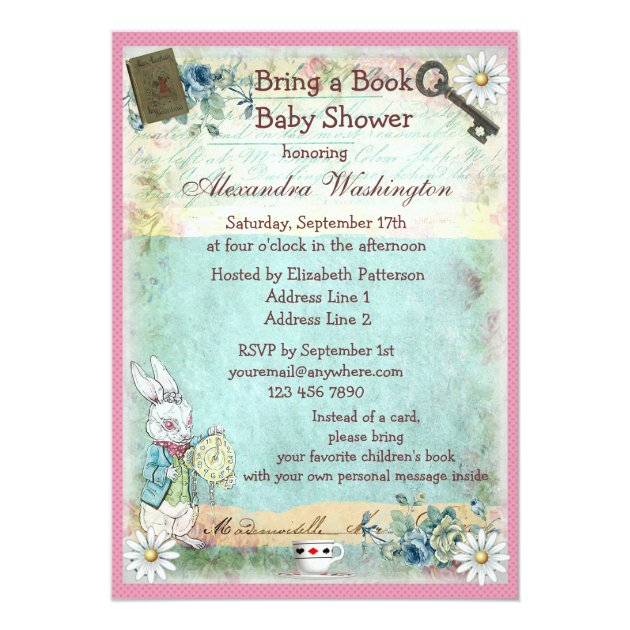 bring a book alice & pink flamingo baby shower card | zazzle, Baby shower invitations