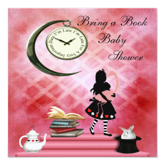 Bring a Book Alice & Pink Flamingo Baby Shower Card