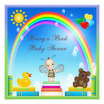 Bring a Book Baby Bee & Rainbow Baby Shower Invites