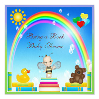 Bring a Book Baby Bee & Rainbow Baby Shower 5.25x5.25 Square Paper Invitation Card