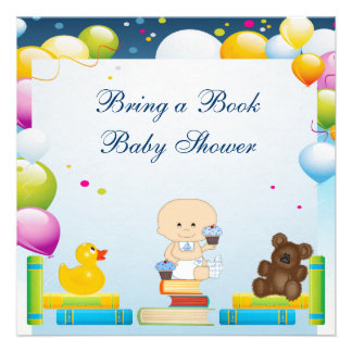 Bring a Book Baby Boy Cupcakes Baby Shower Personalized Invitations