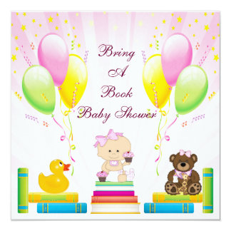 Bring a Book Baby Girl & Cupcakes Baby Shower Personalized Invite