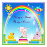 Bring a Book Baby Girl & Rainbow Baby Shower Personalized Invite
