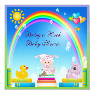 Bring a Book Baby Girl & Rainbow Baby Shower 5.25x5.25 Square Paper Invitation Card
