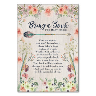 Bring a Book Baby Girl Shower Insert Card