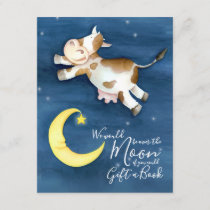 Bring a book baby shower cow over the moon art enclosure card